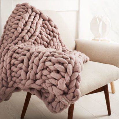 Normal super chunky hand knitted mink coloured throw