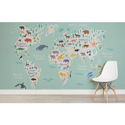 Safari map childrens room 820x532