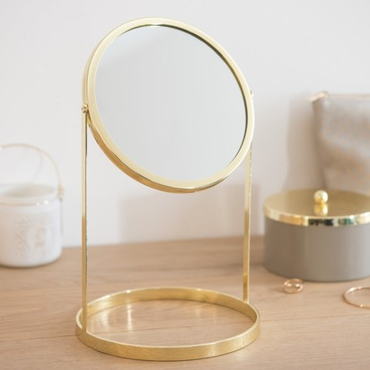 Round gold metal table mirror 17 x 29 cm 1000 7 2 171792 3
