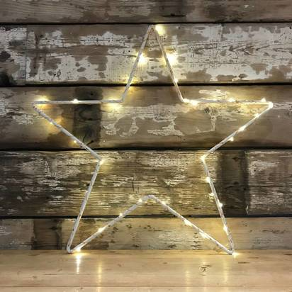 Original distressed metal star or heart with lights