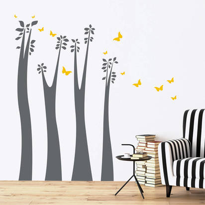 Original new sizes giraffe trees and leaves wall stickers