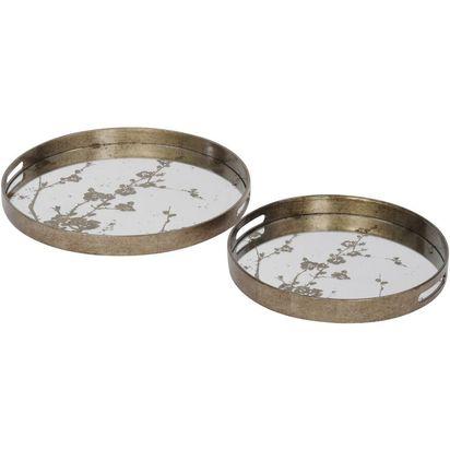 Blossom design round mirror trays set of 2 48364 p