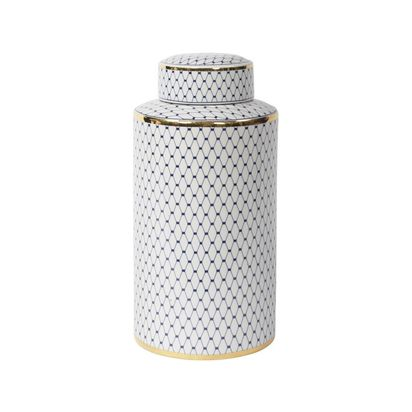 Jesper blue and white lidded ceramic display jar with gold detail 50685 p