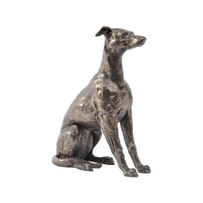 Antique bronze finish sitting whippet sculpture 16712 p