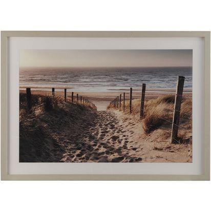 Footsteps on a beach path framed print 50826 p