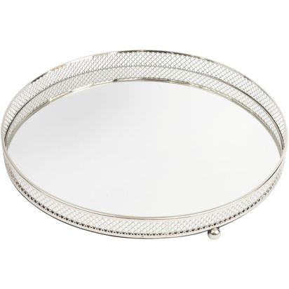Cosford round mirrored tray with lattice rim large 48367 p