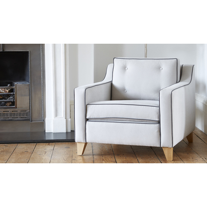 Arosa chair 015 in soft brushed cotton fossil 195 with piping in soft brushed cotton anthracite 17