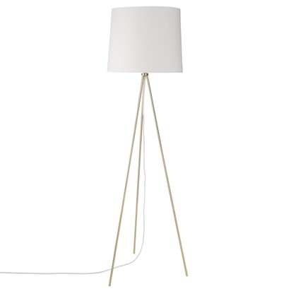 Gold metal tripod floor lamp with white cotton shade 1000 8 34 173136 1
