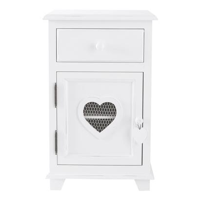 Wooden bedside table with drawer in white w 40cm 1000 5 18 117237 16