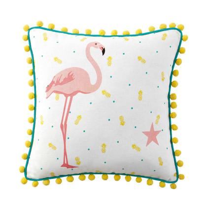 Cotton pink flamingo cushion with tassels 40 x 40 cm 1000 15 27 159968 1