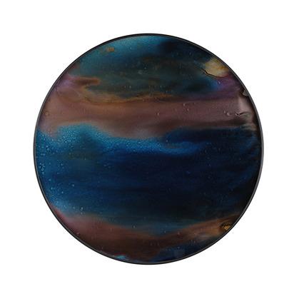 Notre monde indigo organic glass tray round small