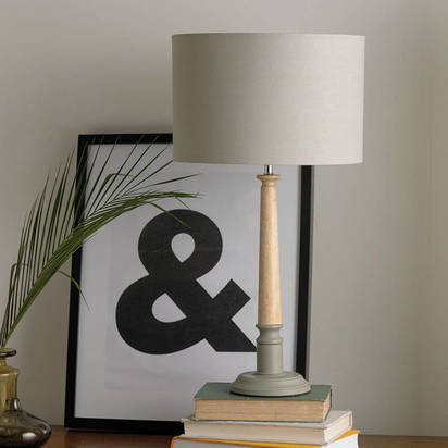 Original two tone wooden table lamp grey