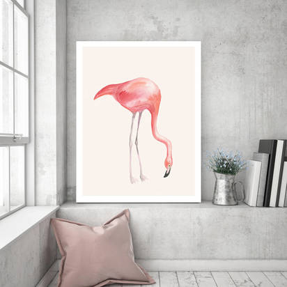 Original flamingo love canvas art