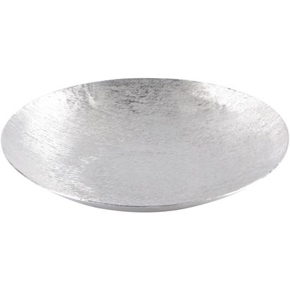 Fabrica silver metal suede round shallow bowl small 78338 p