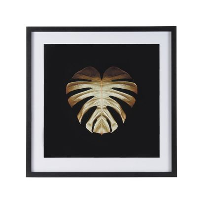 Gold deco monstera framed print by alyson fennell 78344 p