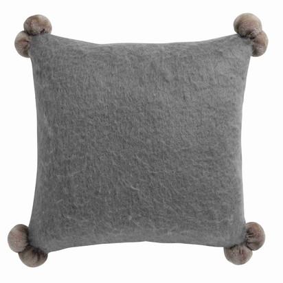 Pompone woollen cushion with pompoms in grey 45 x 45cm 1000 4 7 156217 3