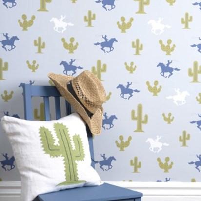 Hibou home cactus cowboy kids wallpaper