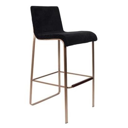 Black upholstered bar stool with rose gold frame