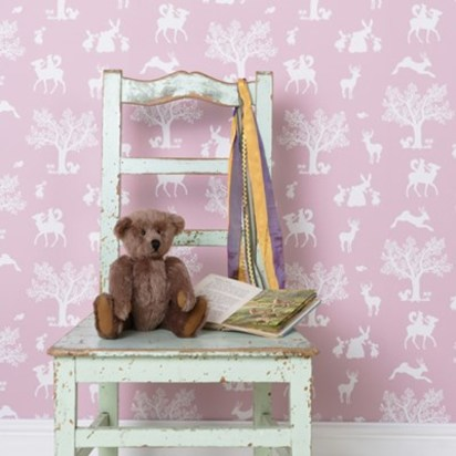 Enchanted wood wallpaper peony pink and white