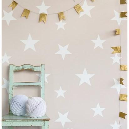 Stars wallpaper blush white hibou home
