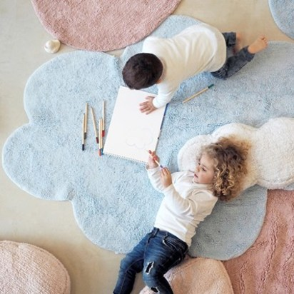 Cloud and heart shaped bedroom rugs