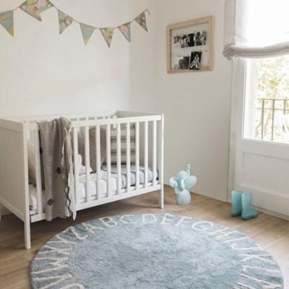 Baby blue nursery alphabet round rug