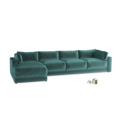 1654389 xl left hand atticus chaise sofa in real teal clever velvet 198726 loaf