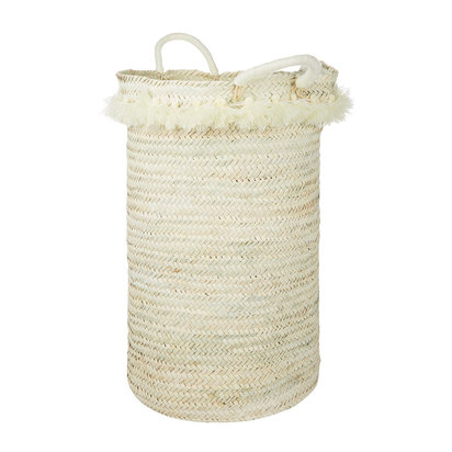Fluorspar laundry basket with tassles cream 790383