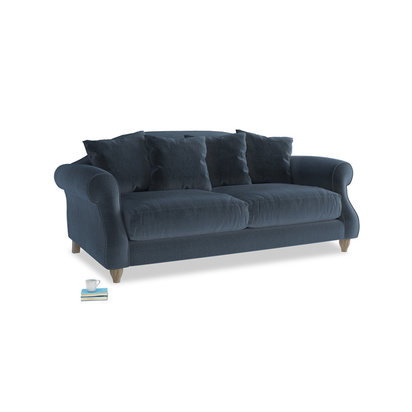 1659832 medium sloucher bed sofa in liquorice blue clever velvet 199153 loaf