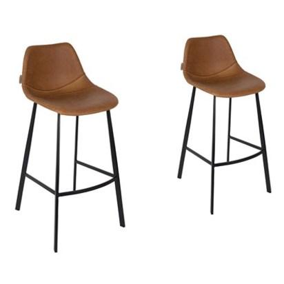 Pair of franky bar stools in brown