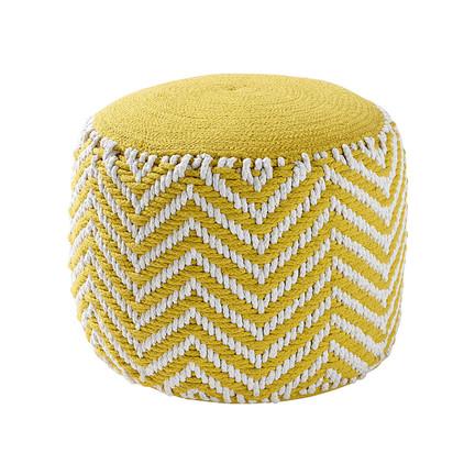 Alix yellow cotton round woven pouffe 1000 16 31 160054 1