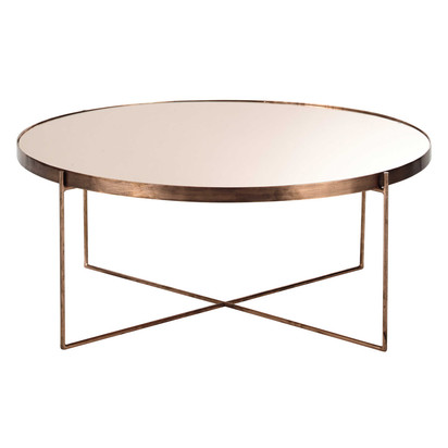 Copper plated metal mirror round coffee table comete 1000 16 14 156552 1