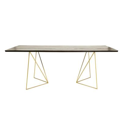Gold metal and black acacia 4 6 seater dining table w 197 cm jagger 1000 13 38 176133 1