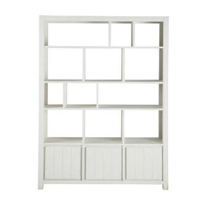 White solid pine bookcase white 1000 5 2 140714 1