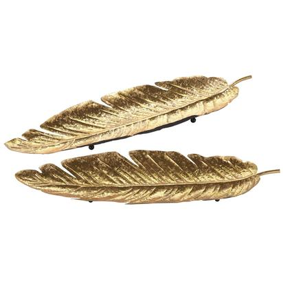 2 gold metal feather trinket bowls florilege 1000 16 15 165409 1