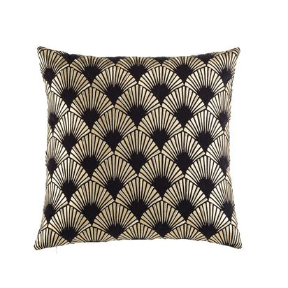 Black cotton cushion with golden graphic motifs 45x45 1000 5 11 177910 1