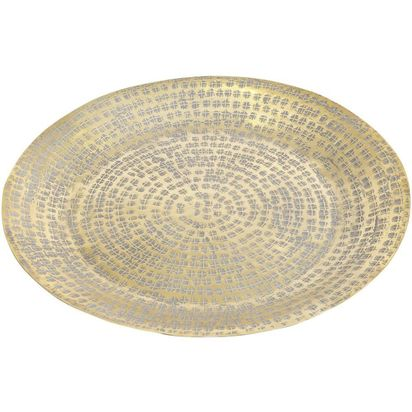 Davina antique gold round metal display dish 89391 p
