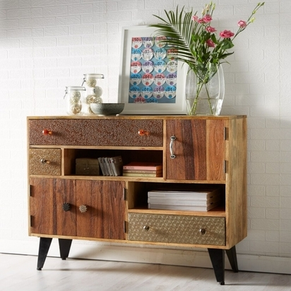 Industrial living soren large mulit drawer sideboard reclaimed wood and metal p13044 160676 image