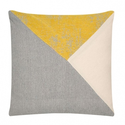 Cult living triangle patchwork cushion grey and yellow p12322 150024 image