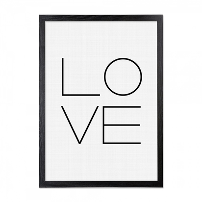 Cult living love typography framed poster black white a2 p9206 110093 image
