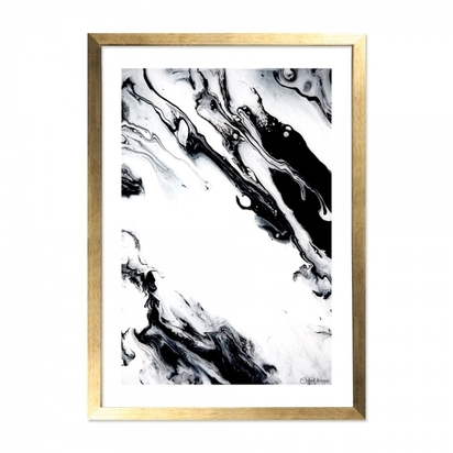 Cult living marble print framed poster black and white a2 p9158 109505 image