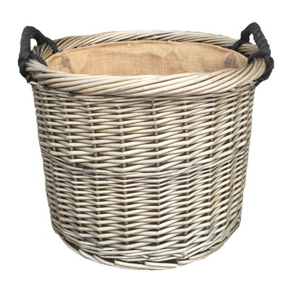 Round rope handled log basket 610088