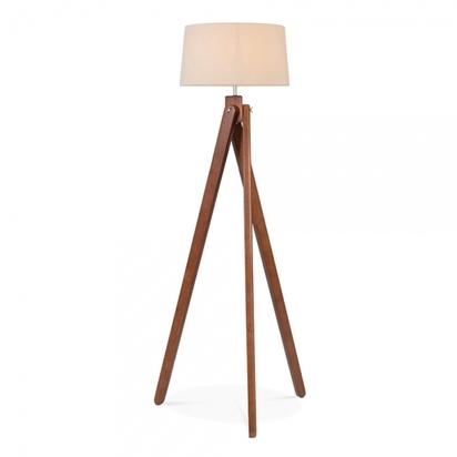 Cult living tripod wooden floor lamp cream lampshade walnut p5149 59553 image