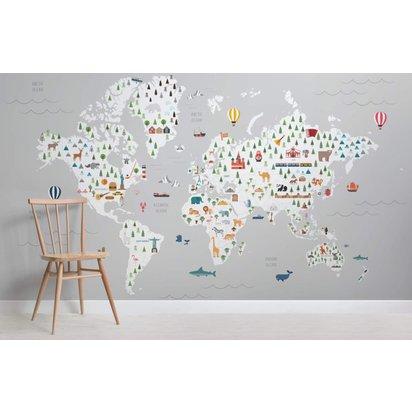 Grey ultimate kids map maps room wall mural kj 825x535
