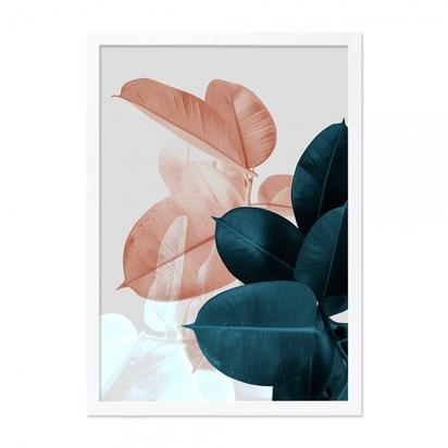 Cult living leaf contrast art print framed poster teal and pink a2 p13710 168982 image