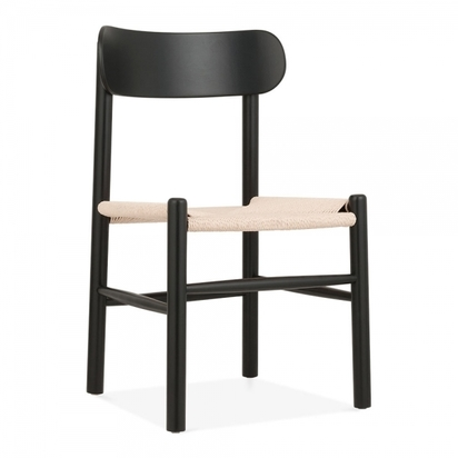 Cult living anders dining chair solid beech wood natural rattan seat black p9782 116552 image