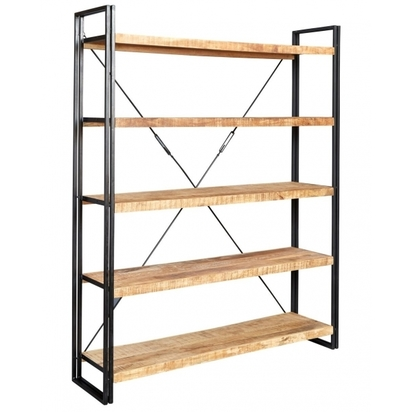 Industrial living regis large open bookcase solid hardwood and iron natural p13251 161635 image