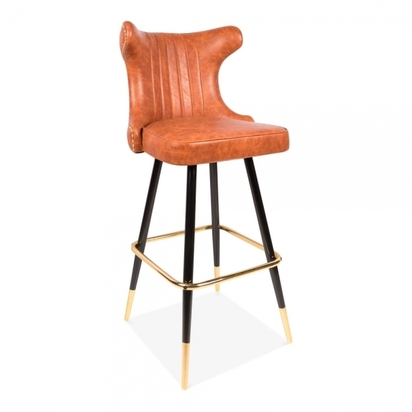 Cult living flint bar stool with backrest faux leather upholstered tan 75cm p13651 168451 image