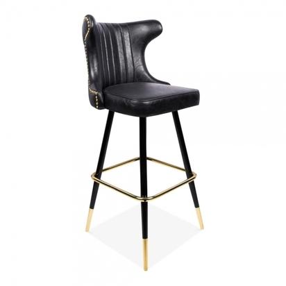 Cult living flint bar stool with backrest faux leather upholstered seat black 75cm p13644 168427 image