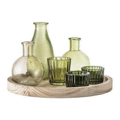 Green glass votive collection with wooden tray 445920